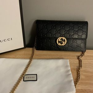 Gucci Black leather Guccisima Clutch Crossbody